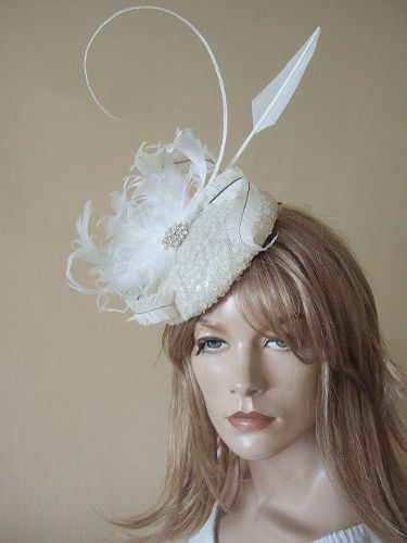 Cream Ivory Curled Goose Nagoire Feathers Crystal Button Headpiece Fascinator Bridal
